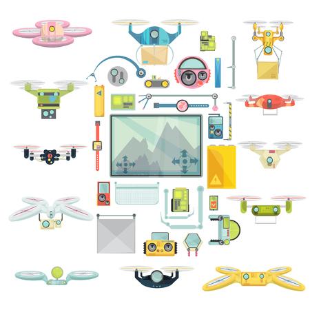 Flache Gruppe Satz von mit verschiedenen fliegenden funkgesteuerten Drohnen für verschiedene Zwecke isoliert auf weißem Hintergrund Vektor-Illustration Standard-Bild - 74919047