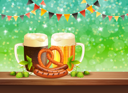 lager beer: Two cups of dark and lager beer starters and hop leaves on bar counter realistic vector illustration Stock Photo