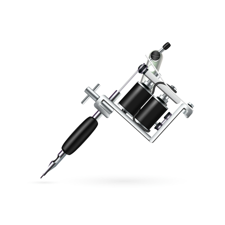 Realistic single tattoo machine with black and metal elements on white background 3d design isolated vector illustration