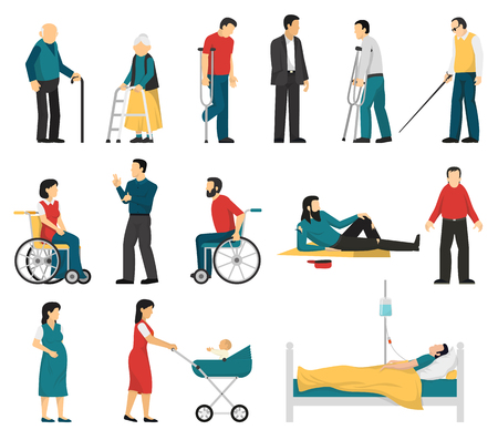 crutch: Set of disabled people including blind deaf injured and elderly persons pregnant woman infant isolated vector illustration