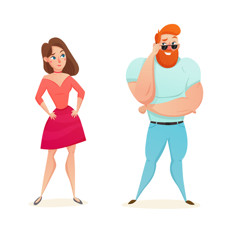 Cartoon figurines of athletic muscular macho flirting with young girl flat isolated vector illustration
