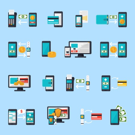 orthogonal: Mobile commerce orthogonal icons collection with flat smartphone payment terminal money and smart watch isolated images vector illustration