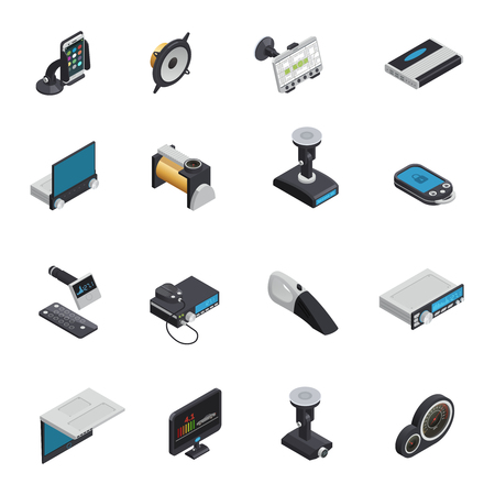 Car electronics isometric icons with electric pump gps navigator alarm system smart gadgets radio and dvd devices isolated vector illustration