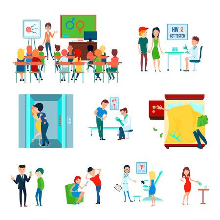 Color anticonceptivo condón amor sexo amor icono de control de la natalidad con educación en el aula en la ilustración vectorial escuela