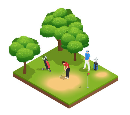 Golf isometric top view composition with two sportsmen playing on golf course bags hole and trees vector illustration Иллюстрация