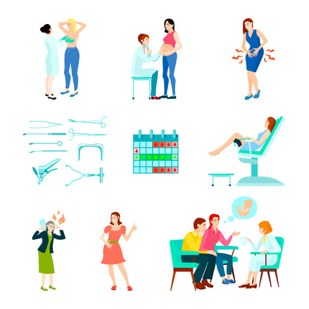 Colored flat and isolated gynecologist gynecology icon set with woman at the doctors reception vector illustration Illustration