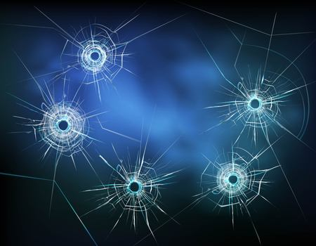 Bullet holes in glass with white cracks and scratches on textured dark background vector illustration