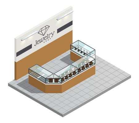 ジュエリー ストア トップ ビュー インテリア販売人および訪問者の等尺性ベクトル図なし透明カウンターで女性の高価な金の宝石類 写真素材