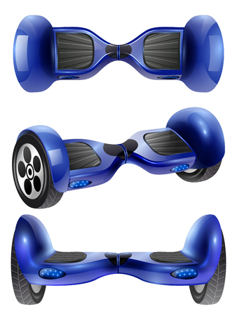 Realistic self-balancing gyro two-wheeled board scooter or hoverboard 3 projections images set dark blue vector illustration