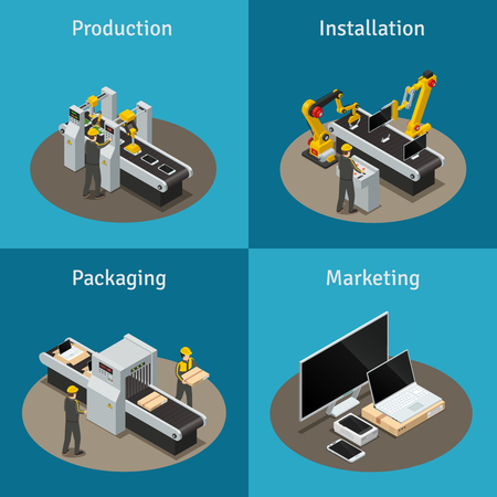 Four square colored electronics factory isometric composition with production installation packaging and marketing descriptions vector illustration Illustration