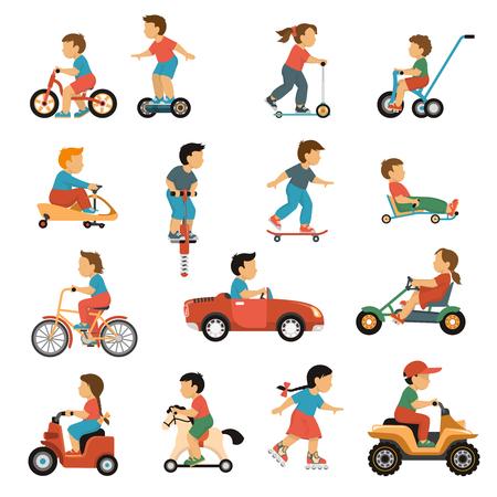 Kinder transport pictogrammen instellen met actieve spelletjes symbolen vlakke geïsoleerde vector illustratie