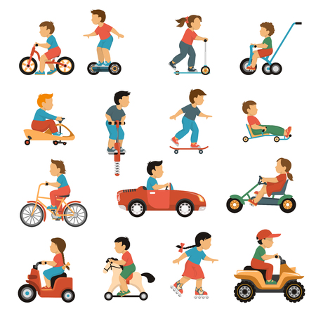 Kids transport icons set with active games symbols flat isolated vector illustration