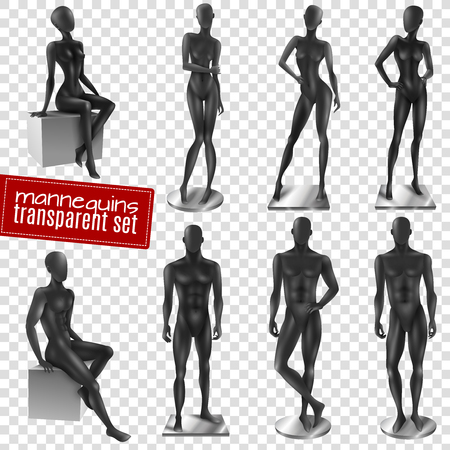 Retail window display black realistic female male full body movable joints mannequins collection transparent background vector illustration Ilustrace