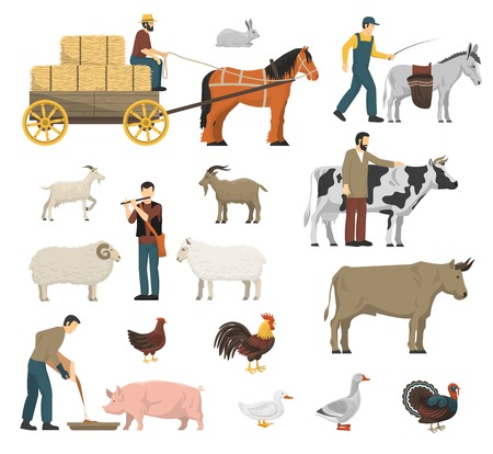 A Farm animals set with cow horse and hen flat isolated vector illustration