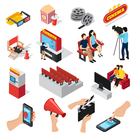 Cinema 3d isometric set of isolated ticket office seats people popcorn and smartphone ticketing app icons  vector illustration Stock Photo