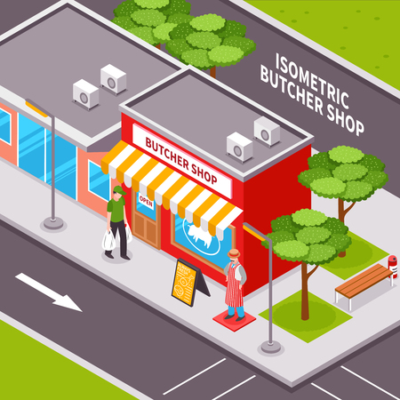Butcher shop outside isometric design with advertising striped awning passing man road infrastructure and trees vector illustration