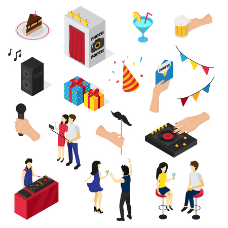drinks party: Party isometric set of isolated icons people characters decorations drinks sweets invitation card and audio equipment vector illustration