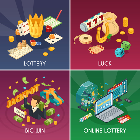 Lottery concept icons set with luck and win symbols isometric isolated vector illustration Иллюстрация