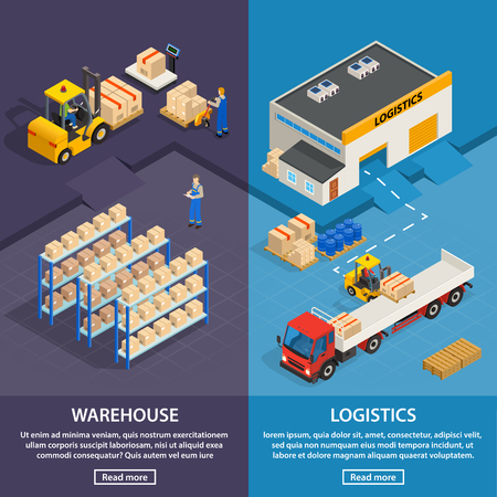 cargo transport: Logistics and warehouse two vertical banners with workers  racks with boxes and cargo transport isometric vector illustration Illustration