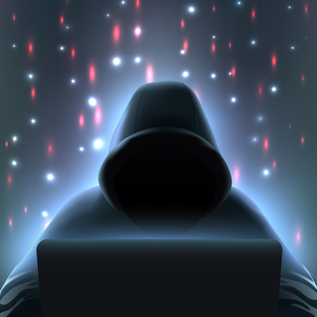 Dark colored hacker computer realistic composition with incognito man in black hood over laptop vector illustration Illustration