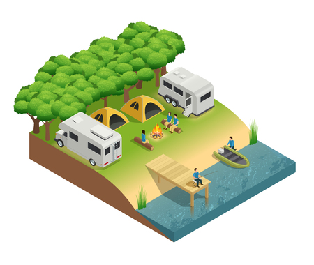 Recreational vehicles at lake isometric composition with tent people and forest vector illustration