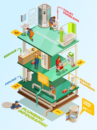 Multistory residential building heating and water supply system problems quality plumbing solutions isometric infographic poster vector illustration Illustration
