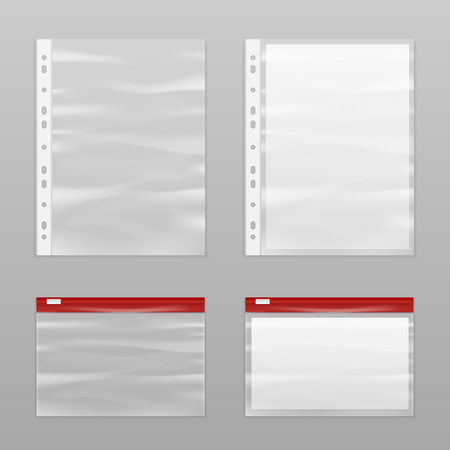 perforated: Colored full paper and empty plastic bags icon set realistic and isolated vector illustration