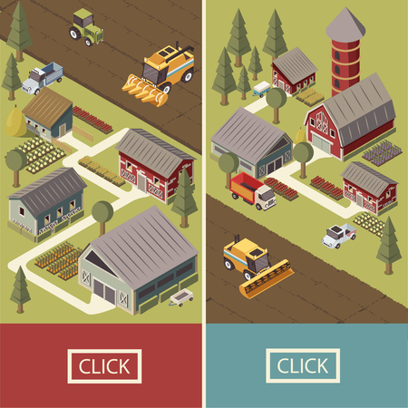 Isometric vertical banners with farm vehicles cultivated lands agricultural buildings garden beds and tracks isolated vector illustration