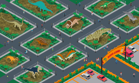 Dino land isometric composition with people walking in modern park of giant prehistoric reptiles vector illustration