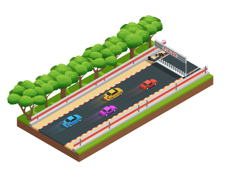 Car race track isometric composition with game racing course with colorful images of cars and trees vector illustration