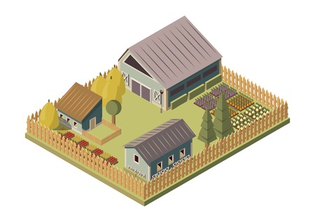Ranch isometric layout with barn and sheds stacks of hay garden beds and wooden fence vector illustration