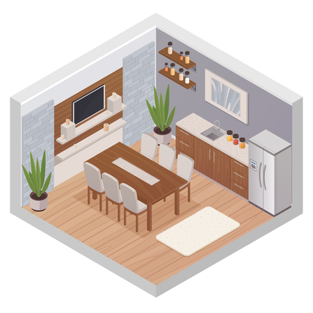 Kitchen interior isometric design concept with modern furniture tv set and dining table for six persons flat vector illustration