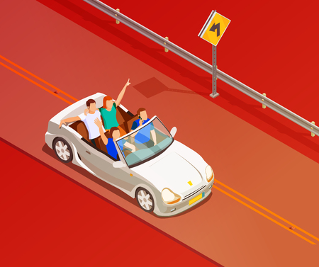 Young friends riding open top white luxury convertible car isometric poster with red colored background vector illustration Illustration