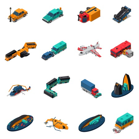 Transport accidents isometric set with automobile and train crashes broken airplane and helicopters shipwreck isolated vector illustration
