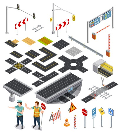 road marking: Set of isometric icons showing constructor elements of road sections with markings and traffic signposts vector illustration