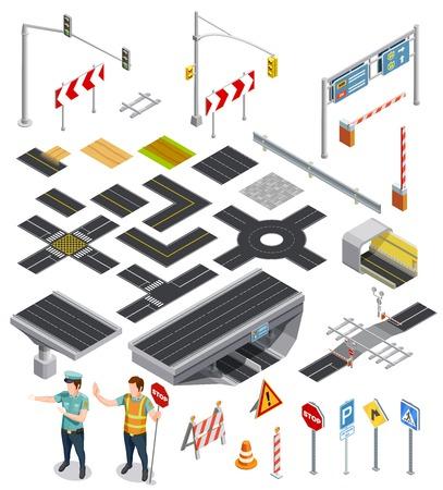 Zestaw izometrycznych ikon pokazano elementy konstruktora odcinków dróg z oznaczeniami i drogowskazów wektorowych ilustracji