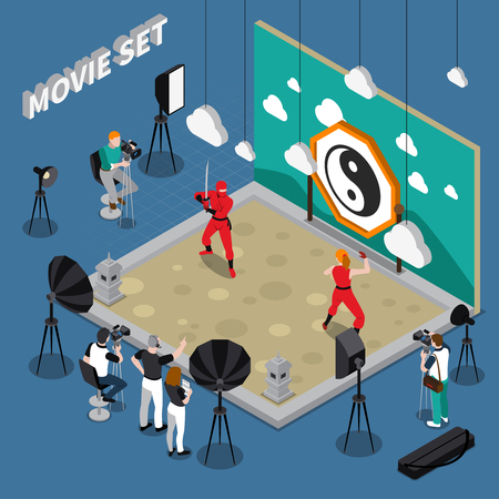 Movie set with actors director and cameramen decorations and equipment on blue background isometric vector illustration Illustration