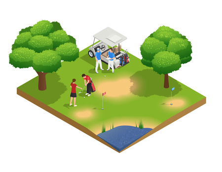 Green golf course isometric top view composition with people golfing and standing near cart vector illustration