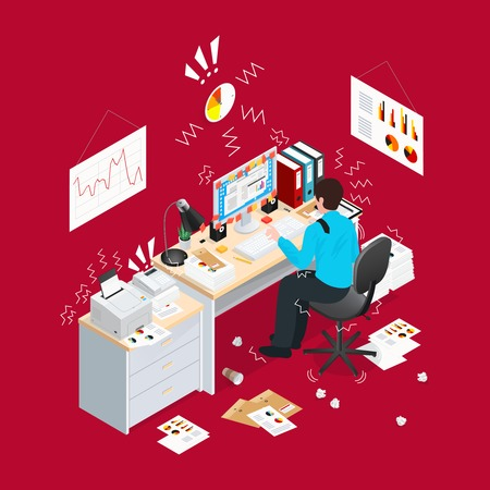 desk work: Read 3d deadline office isometric composition with stress situation and paper lying on the floor vector illustration
