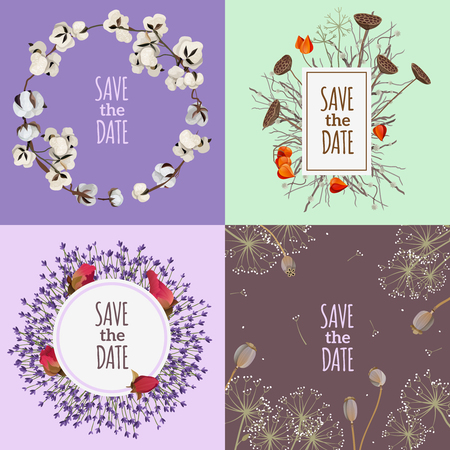 buds: Save the date 2x2 design concept with four  printable wedding cards with compositions of dry flowers flat vector illustration