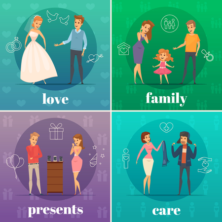 four people: Four square flat trying shop flat people concept with love family presents and care descriptions vector illustration