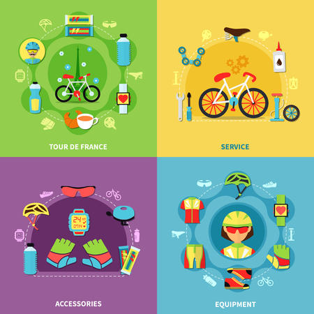 Bike concept icons set with service and equipment symbols flat isolated vector illustration