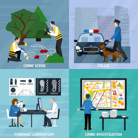 Crime investigation flat design concept with experts at murder scene forensic laboratory and police isolated vector illustration