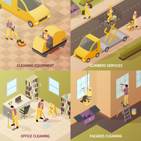 Four square isometric industrial cleaning concept with cleaning equipment climbers services office cleaning and facades cleaning descriptions vector illustration Иллюстрация