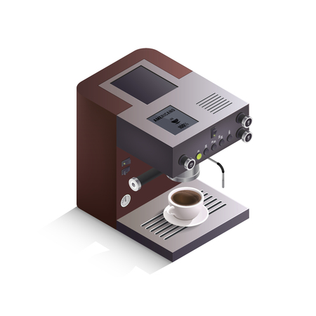 Modern coffee machine with cup of drink and inscription americano on white background isometric isolated vector illustration Vector Illustration