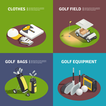 Golf 2x2 isometric design concept with golfer clothes golf bags cart on field and golf equipment square compositions vector illustration