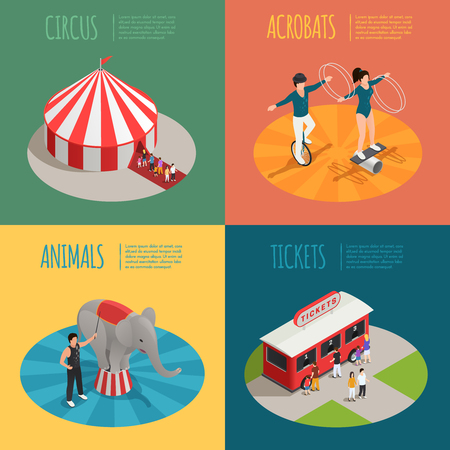 manege: Circus 2x2 design concept with tent acrobats ticket cashier trailer and elephant trainer square compositions isometric vector illustration