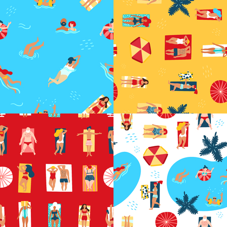 Colorful 2x2 seamless pattern set with people sunbathing on beach and swimming in sea top view flat isolated vector illustration Ilustração