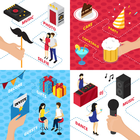 drinks party: Party isometric design concept with decorations gift boxes character clothes alcohol drinks audio gear and people vector illustration Illustration
