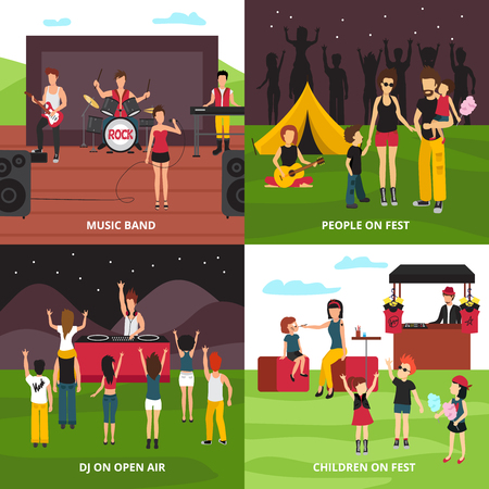 Open air festival design concept with flat people characters dancing playing music relaxing in camping park vector illustration 向量圖像